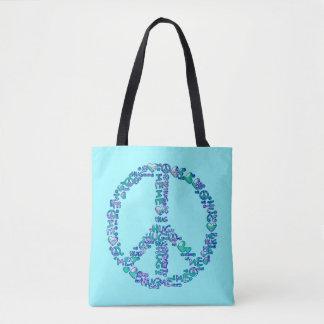 HUG ME PEACE symbol + your backgr. & ideas Tote Bag