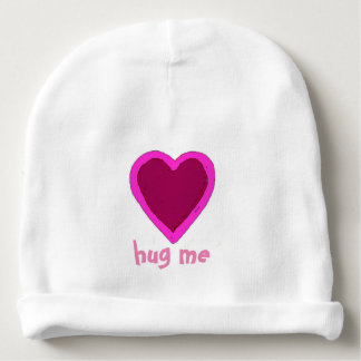Hug Me Pink Heart Baby Beanie