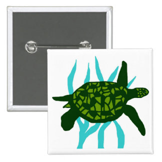 Hug me sea turtle button