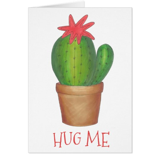 Hug Me Valentine's Day Prickly Cactus Plant Funny Card