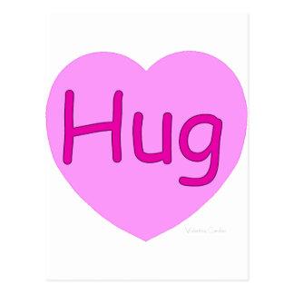 Hug Pink Heart Postcard