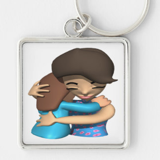 Hug Silver-Colored Square Key Ring