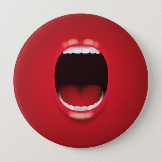 Huge, 4 Inch Round Button - Open Mouth