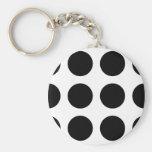 Huge Black Dots Basic Round Button Key Ring