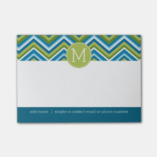 Huge Bright Chevron Pattern with Custom Monogram Post-it® Notes