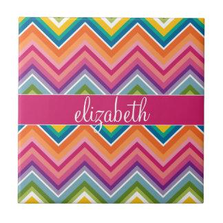 Huge Colorful Chevron Pattern with Name Small Square Tile