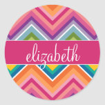 Huge Colourful Chevron Pattern with Name Round Sticker