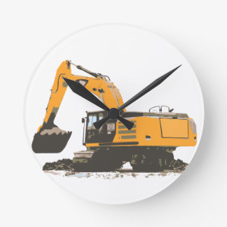 Huge Dirt Excavator Round Clock