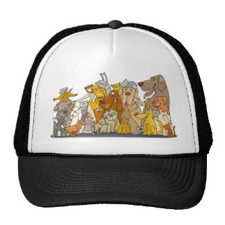 huge group of cats and dogs mesh hats
