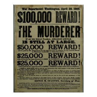 Huge John Wilkes Booth Lincoln murder Posters