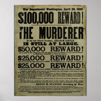 Huge John Wilkes Booth Lincoln murder Poster