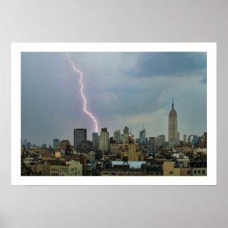 Huge Lightning Strike Over Midtown NYC Skyline Poster