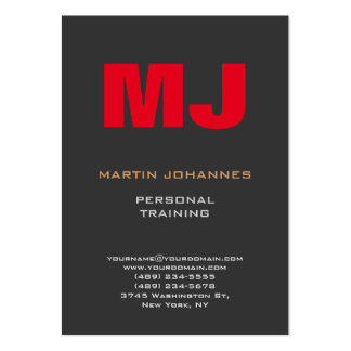 Huge Monogram Grey Red Sport Personal Trainer Pack Of Chubby Business Cards