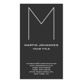 Huge Monogram Vertical Chic Grey Business Card