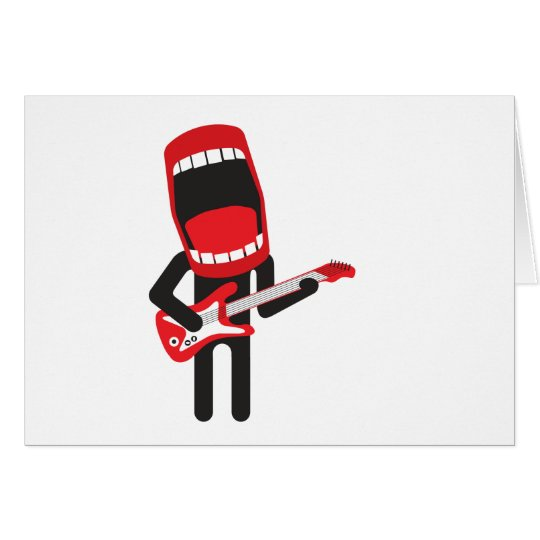 huge mouth guitar player card