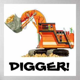 Huge Orange Digger Poster Posters