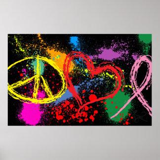 """""""Huge"""" Peace Love Hope Paint Splatter Poster"""