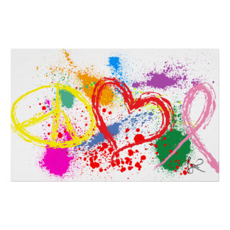 """Huge"" Peace Love Hope Paint Splatter Poster"