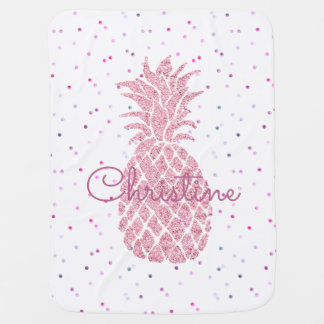 huge pink pineapple girly baby blanket
