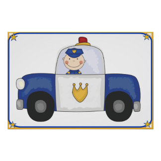 Huge Police Cruiser and Police Officer Poster