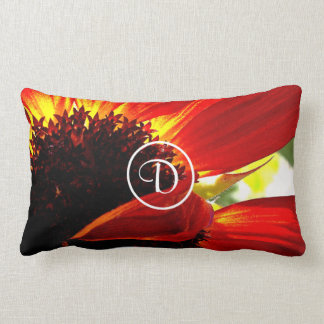 Huge red daisy photo custom monogram lumbar pillow