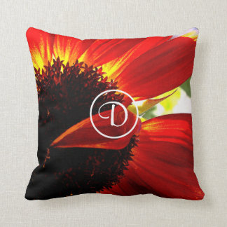 Huge red orange daisy photo custom monogram pillow