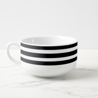 HUGE Soup mugs with classic black white stripes