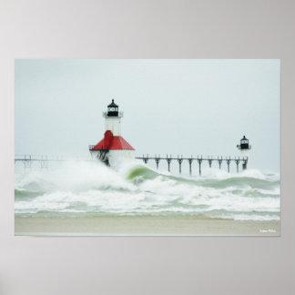 Huge Waves on Lake Michigan Poster