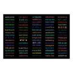HUGE Welcome in 80 Languages BLACK Poster -5sizes!