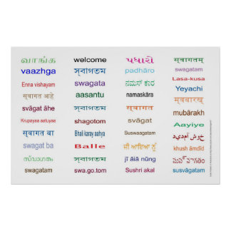 Huge Welcome in Languages of India - 5 Sizes Poster