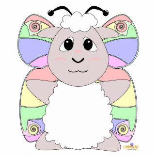 Huggable Butterfly White Sheep Photo Sculpture Magnet