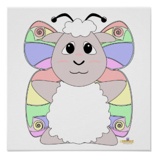 Huggable Butterfly White Sheep Posters