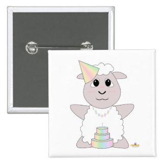 Huggable Pastel Birthday White Sheep 15 Cm Square Badge