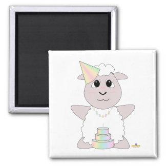 Huggable Pastel Birthday White Sheep Fridge Magnet