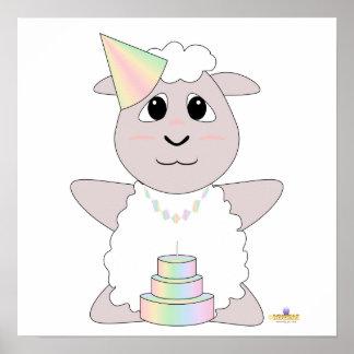 Huggable Pastel Birthday White Sheep Poster