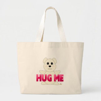 Huggable Polar Bear Pink Hug Me Large Tote Bag