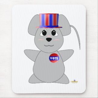Huggable Voting Gray Mouse Mouse Pads