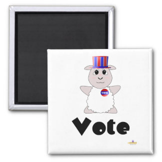 Huggable Voting White Sheep Vote Square Magnet