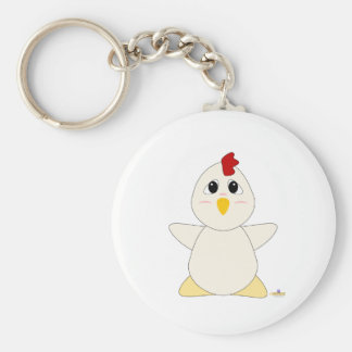Huggable White Chicken Basic Round Button Key Ring