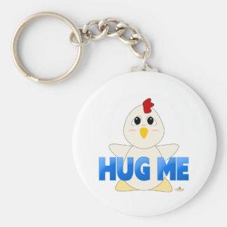Huggable White Chicken Blue Hug Me Basic Round Button Key Ring
