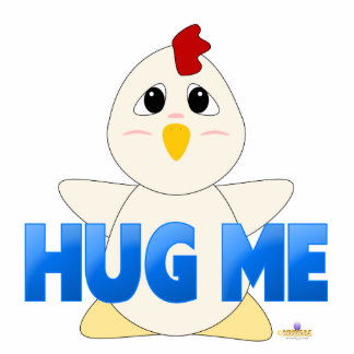 Huggable White Chicken Blue Hug Me Photo Cut Out