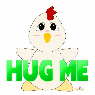 Huggable White Chicken Green Hug Me Photo Sculpture Badge