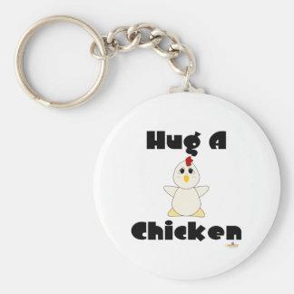 Huggable White Chicken Hug A Chicken Key Ring