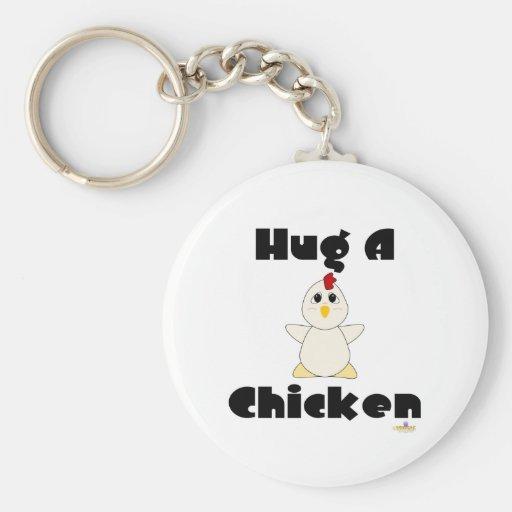 Huggable White Chicken Hug A Chicken Key Chains