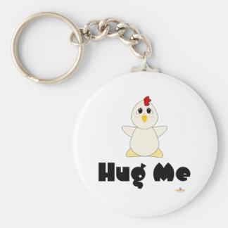 Huggable White Chicken Hug Me Keychain