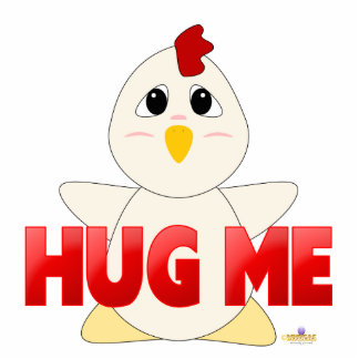 Huggable White Chicken Red Hug Me Cut Out