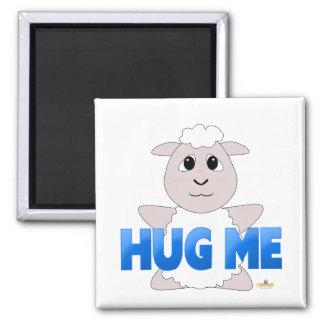 Huggable White Sheep Blue Hug Me Refrigerator Magnet