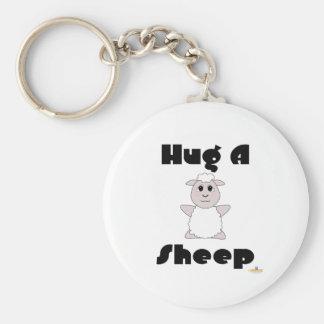 Huggable White Sheep Hug A Sheep Basic Round Button Key Ring