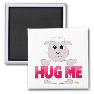Huggable White Sheep Pink Hug Me Square Magnet