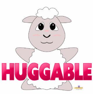 Huggable White Sheep Pink Huggable Cut Out
